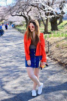 Orange Crush // moto jacket   button-up skirt