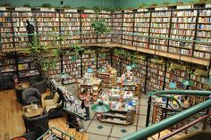 bookstore Cafebrería El Péndulo in Mexico City, Mexico.  I have mentioned before the common mix of coffee shops and bookstores, but this store takes the idea to a new level with a combination of a coffee shop, a bookstore and a greenhouse.