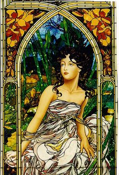 Alphonse Mucha  inspired , Morning | by Stained Glass Painter / Jim M. Berberich