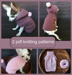 Knitted in one piece on straight needles. Crochet Dog Sweater Free Pattern, Knitting Patterns Free Dog, Knit Dog Sweater, Hooded Sweater, Pink Sweater, Small Dog Coats, Small Dog Sweaters, Small Dog Clothes, Chihuahua Toy