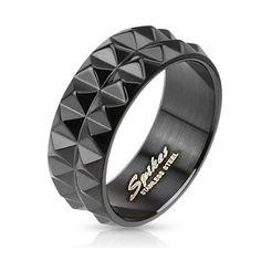Spiked Black IP Ring, Men's