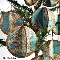 Globe Map Atlas Ornament ...... Limited Edition Handmade Decoupage Turquoise…