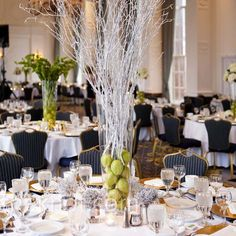 White branches for a wedding centerpiece