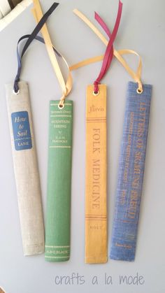 Old Book Spine Bookmarks | Crafts A la Mode | www.madewithHAPPY.com