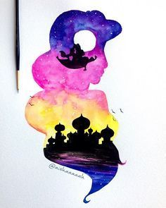 coolTop Disney Tattoo - Jasmine double exposure! Almost done editing some paintings (Disney ones too) ri...