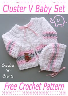 Beautiful cute baby set, crochet this two piece for baby shower gifts, it's a free crochet pattern on crochetncreate. #crochet #crochetbaby #crochetbabyoutfit #freebabycrochetpatterns #crochetforbabyshowers Crochet Baby Cardigan Free Pattern, Crochet Baby Sweaters, Baby Boy Knitting Patterns, Baby Sweater Patterns, Granny Square Crochet Pattern, Crochet Baby Clothes, Baby Patterns, Baby Knitting, Crochet Jumper