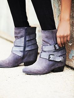 Harlin Hidden Wedge Boot | Suede boot with a hidden wedge.  Exposed heel.  Wrapped buckle detailing with an inside side zip.    *By NAYA $99