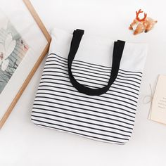 Buy Striped Cotton Custom Canvas Tote Bag @ 70 % Off Eco Friendly Bags, Striped Canvas, Tote Pattern, Shopper Bag, Reusable Bags, Casual Bags, Online Bags, Small Bags, Bag Sale