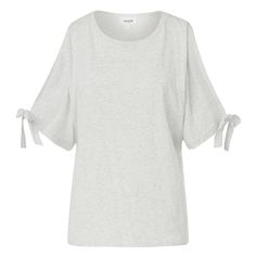 Cotton Cold Shoulder Tee. Pretty cold shoulder style, features a scoop neckline and short sleeves with ties. Available in Light Grey Marle and White as shown.
