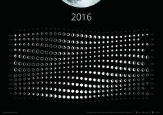 Todas las lunas del año 2016 en un calendario lunaren formato póster.Incluyen lafase, distancia y horizonte de la luna.