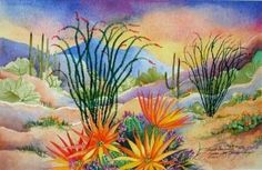 Desert Landscape Southwest Art Print - Desert Diamonds - Blooming Cactus Barbara Spencer (You could quilt this)