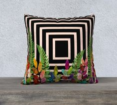 Ferns and Leaves, Pillow Cover, Geometric, Pale Pink and Black, Gold Leaf, Accent Throw Pillow, Large Sofa Cushion, Upholstery Velveteen,