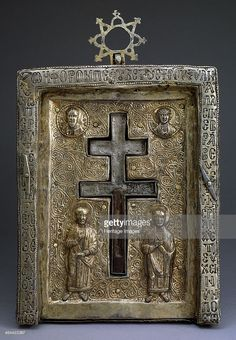 Gilded silver staurothek (Cross reliquary), Byzantine, 12th century. Found in the collection of the State Armoury Chamber in the Kremlin, Moscow.