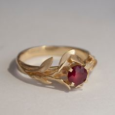 Leaves Engagement Ring No.4 - 14K Gold and Ruby engagement ring, engagement ring, leaf ring, filigree, antique, art nouveau, vintage on Etsy, $750.00