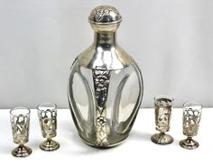 Antique or Vintage 925 Sterling Silver Pinch Glass Decanter & Cup Set MEXICO