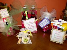 """Teacher appreciation gifts! 1. File & Nail polish: """"I'd FILE you under """"A"""" for awesome"""" 2. Burts Bees products/candy: """"Thanks for BEE-lieving in me."""" 3. Soda: """"I'm SODA-lighted that you were my teacher this year."""" 4. Hand soap/gift card: """"You are HANDS down the best teacher."""" 5. Coffee mug, tea & lemon: """"You have been a TEA-rrific TEA-cher!"""" Did all the tags on Microsoft powerpoint, and cut with zig zag scissors, and used accent scrapbook paper!  ALL these gifts together were under $30.00."""