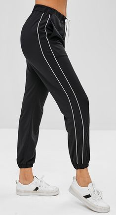 Piping Drawstring Jogger Pants - Black crop pants women Style: Casual Material: Cotton,Polyester Waist Type: Mid Fit Type: Regular Pattern Type: Others Pant Style: Jogger Pants Jogger Pants Outfit, Sweatpants Outfit, Women's Pants, Jogging Outfit, Trousers Women, Pants For Women, Clothes For Women, Fashion Pants, Fashion Outfits