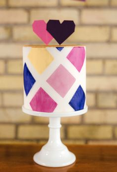 geometric painted cake