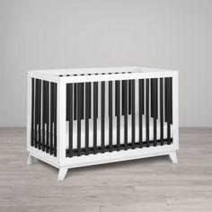 Little Seeds Rowan Valley Flint Convertible Crib - White/Black, White Black Toddler Furniture, Baby Furniture, Crib Mattress, Crib Bedding, Convertible Crib, Baby Cribs, Wood And Metal, Beautiful Babies, Painting Frames