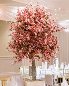Pink cherry blossom centrepieces for a wedding in the Photography: Cherry Blossom Centerpiece, Pink Cherry Blossom Tree, Wedding Venue Decorations, Wedding Venues, Irish Wedding, Centrepieces, Wedding Flowers, Christmas Tree, Holiday Decor