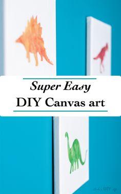 So easy!! canvas craft idea| Make your own DIY Canvas wall art | Nursery decor idea | Dinosuar | Kids room #nurserydecor #canvascrafts #dinosaur #kidsdecor