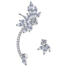 Mismatched Silver Cz Diamond Ear Cuff Shop Polyvore Jewelry Designs by Body Kandy Couture. Ear Cuffs with Studs. Nevette Swarovski Earring Cuff  Plated in 18k Platinum Gold.…