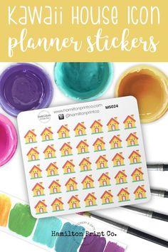 #planner #stickers #ideas #decorating #DIY #happy #life #aesthetic #inspiration #passion #cute #holiday #hobonichi #sticker #kit #bullet #journal #bujo Best Planners, Home Icon, Cute House, Planner Supplies, Small Shops, Hobonichi, Bullet Journals, Erin Condren, Life Planner