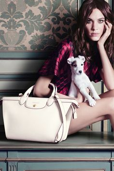 longchamp 2014 fall winter campaign1 Alexa Chung Poses with Pup for Longchamp Fall 2014 Campaign