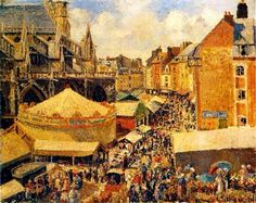 The Fair in Dieppe, Sunny Morning - Camille Pissarro  (this would make an amazing jigsaw puzzle)