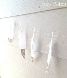 Feather Garland with Gold and Glitter - Holiday garland, birthday garland, party decoration