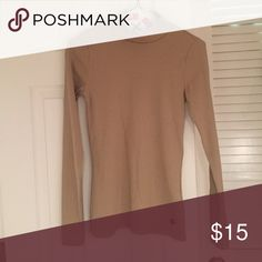 Abercrombie tan mock neck sweater Tan ribbed sweater with mock neck. Very fitted. Was too small for me. Nwt Abercrombie & Fitch Sweaters Cowl & Turtlenecks