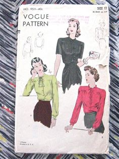 1940s Vintage Vogue 9511 sewing pattern to make blouse.  Bust is 30 inches