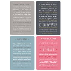 Carte à message lot de 4 cartes décoratives - beaux textes et prières
