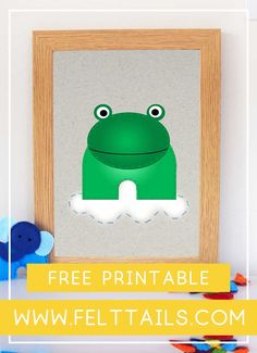 Irresistibly cute, free frog printable for your nursery, playroom or kids bedroom. DIY your jungle themed nursery decor with these bright, colourful animals to download and print at home. Baby boy or baby girl? This artwork is an easy, low cost idea to brighten a gender neutral nursery wall. Create a gallery wall of jungles animals with 12 more to choose from including elephant, lion, monkey, tiger, giraffe, hippo, parrot + more. #FeltTails #printable #nurserydecor Frog Nursery, Jungle Nursery, Themed Nursery, Nursery Themes, Girl Nursery, Diy Nursery Decor, Playroom Decor, Nursery Wall Art, Nursery Neutral
