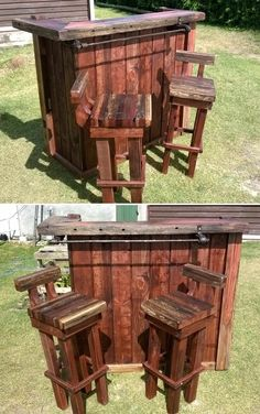 35 Awesome Bars Made Out of Reclaimed Wooden Pallets Bars  I like the chairs but they need a larger back rest. Pallette, 1001 Pallets, Recycled Pallets, Bar Made From Pallets, Free Pallets, Recycled Materials, Furniture Outlet, Bar Furniture, Luxury Furniture