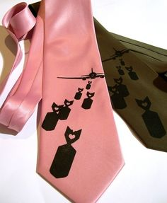 Aviation necktie, Bombs Away mens tie - silkscreened tie, black exploding lovenotes. Choose standard or narrow width.