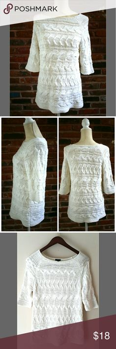 "Talbots White Crochet Half Sleeve Long Top Size L Get this cute top by Talbots and be ready for the Fall!  Talbots White Crochet Top Size Large. Half sleeve and good length - very adorable. Beautiful, like-new condition. Fits Medium to Large. Very comfy and in style. Made with 70% cotton, 30% nylon.   ℹ Chest 17"" Measured laying flat ℹ Sleeve 14"" ℹ Length 27""   ✅Open to offers✅ Talbots Sweaters"