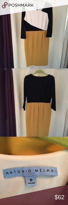 Antonio Melani BEAUTIFUL!! Gold, black, & White, so beautiful on. My favorite!! Just too small for me. Antonio Melani. 3/4 sleeves, fully lined, worn once for 2 hours. Like brand new! New Condition, no flaws! ANTONIO MELANI Dresses