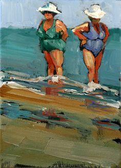 "Daily Paintworks - ""bronzed beauties"" - Original Fine Art for Sale - © Carol Carmichael Seaside Art, Beach Art, Painting People, Human Art, Arte Pop, Fine Art Gallery, Beautiful Paintings, Watercolor Paintings, Watercolors"
