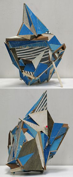Breakwater - Aaron S Moran Aaron S. Moran gathers wood from buildings demolished for suburban malls and condos, the kind of architecture composed almost exclusively with man-made materials. He then cuts the wood into smaller geometric pieces, sorts them, and paints a few pieces to compliment a color on the found wood. Painted and unfinished pieces fit together by shared origin, in an order determined by their structure and how tightly this piece fits with that.