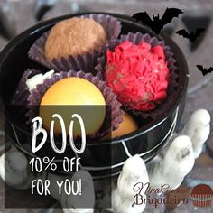 BOO!!!!! It is time for Halloween Parties, Guess who is all dressed up too?? Our Brigadeiros! Order now for your party and use our 10% OFF coupon: BOO10OFF  Coupon expires Nov 1st, 2016.  So hurry go order now www.NinaBrigadeiro.com/Shop #brigadeiro #chocolate #halloween #scary #boo