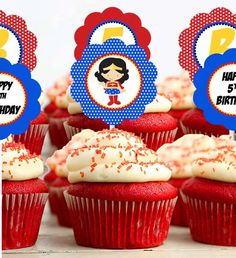 Cupcake Toppers Girl - Superhero Wonder Woman Birthday Party Line - Stick to Your Story. $20.00, via Etsy.