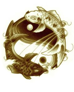 Koi fish Pisces ying and yang tattoo ~ live by the sun, feel by the moon Yin Yang Fish, Ying Y Yang, Pisces Tattoo Designs, Pisces Tattoos, Mini Tattoos, Body Art Tattoos, Tatoos, Yin Yang Balance, Yin Yang Tattoos