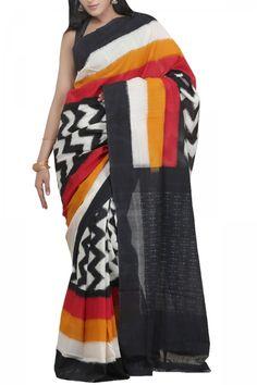 Black & Multi Colored Cotton Ikat Saree