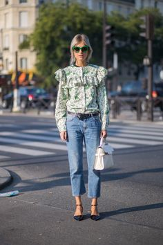 Linda Tol's green frills were a street style thrill at Paris Fashion Week <3