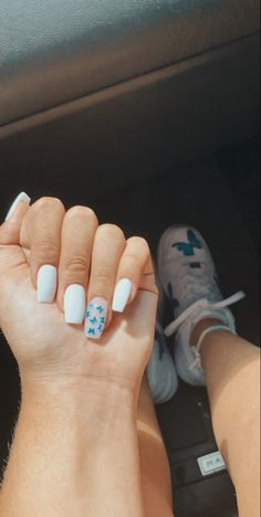 Short Square Acrylic Nails, Acrylic Nails Coffin Short, Blue Acrylic Nails, Simple Acrylic Nails, Summer Acrylic Nails, Simple Nails, Classy Gel Nails, Butterfly Nail, Blue Butterfly
