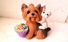 Escultura de Yorkshire Terrier perro de Pascua arcilla