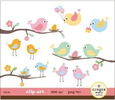 cute birds baby shower invitations - Buscar con Google
