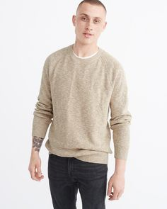 A&F Men's Crewneck Sweater in Brown - Size XS