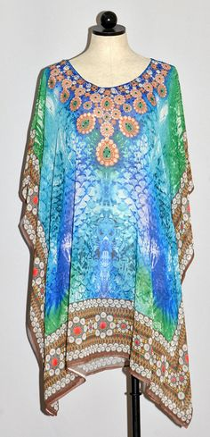 Zambezi Caftan Style Top - embellished jeweled neckline (color: shades of blue, green & brown border) (size: OSFM)
